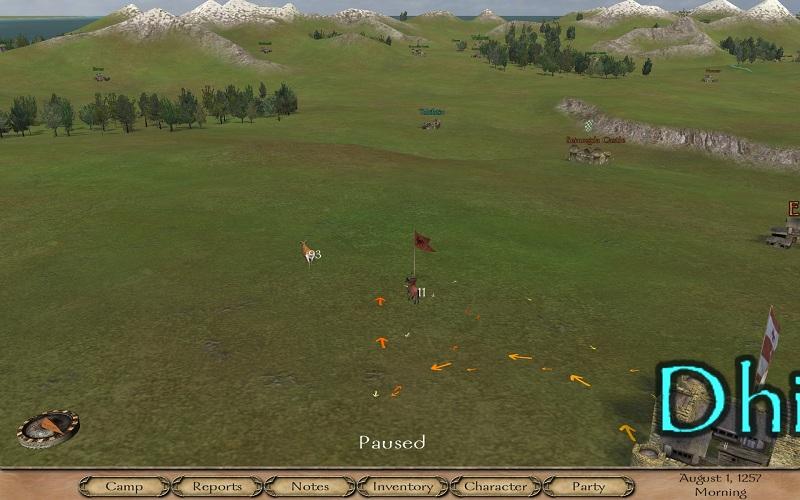 Potovanje po mapi. Tisti konjenik prikazuje celotno našo vojsko. Lahko tudi več 100 vojakov.